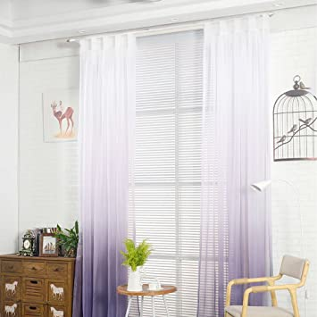 Großartig Nibesser Transparent Farbverlauf Gardine Vorhang Schlaufenschal Deko Für  Wohnzimmer Schlafzimmer (245cmx140cm, Weiß Und Lila