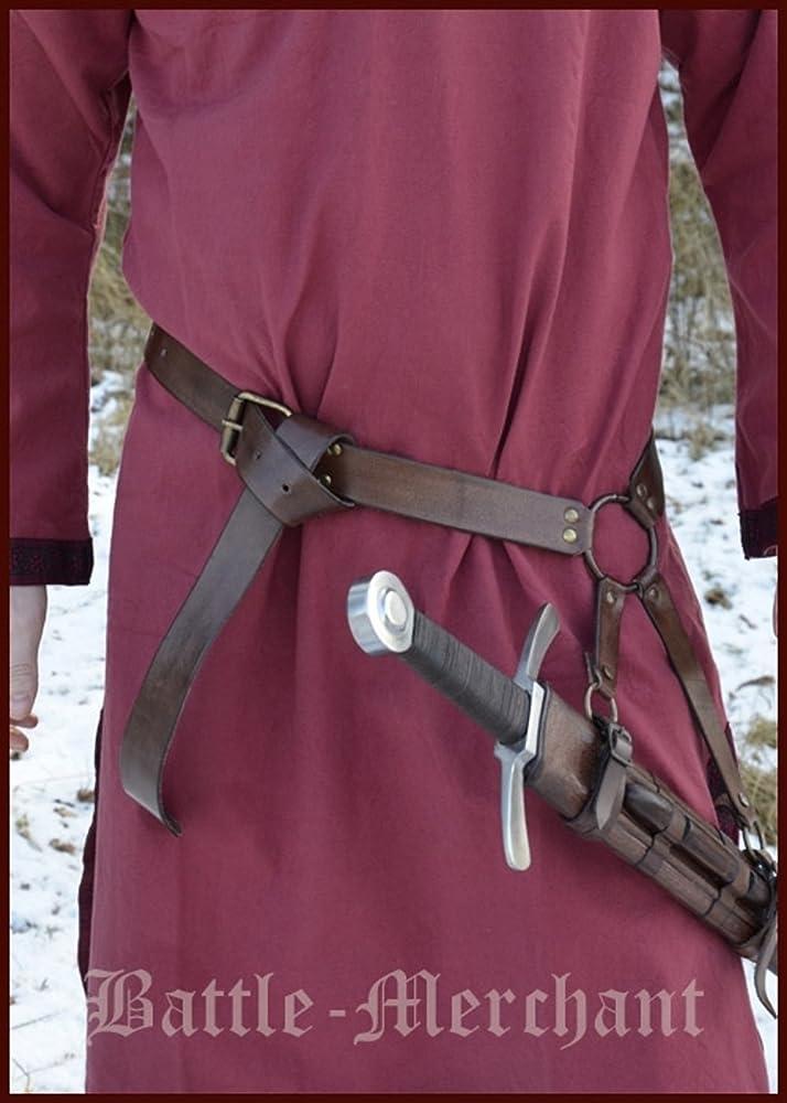 Battle Merchant Mittelalter Schwertgürtel aus braunem Leder