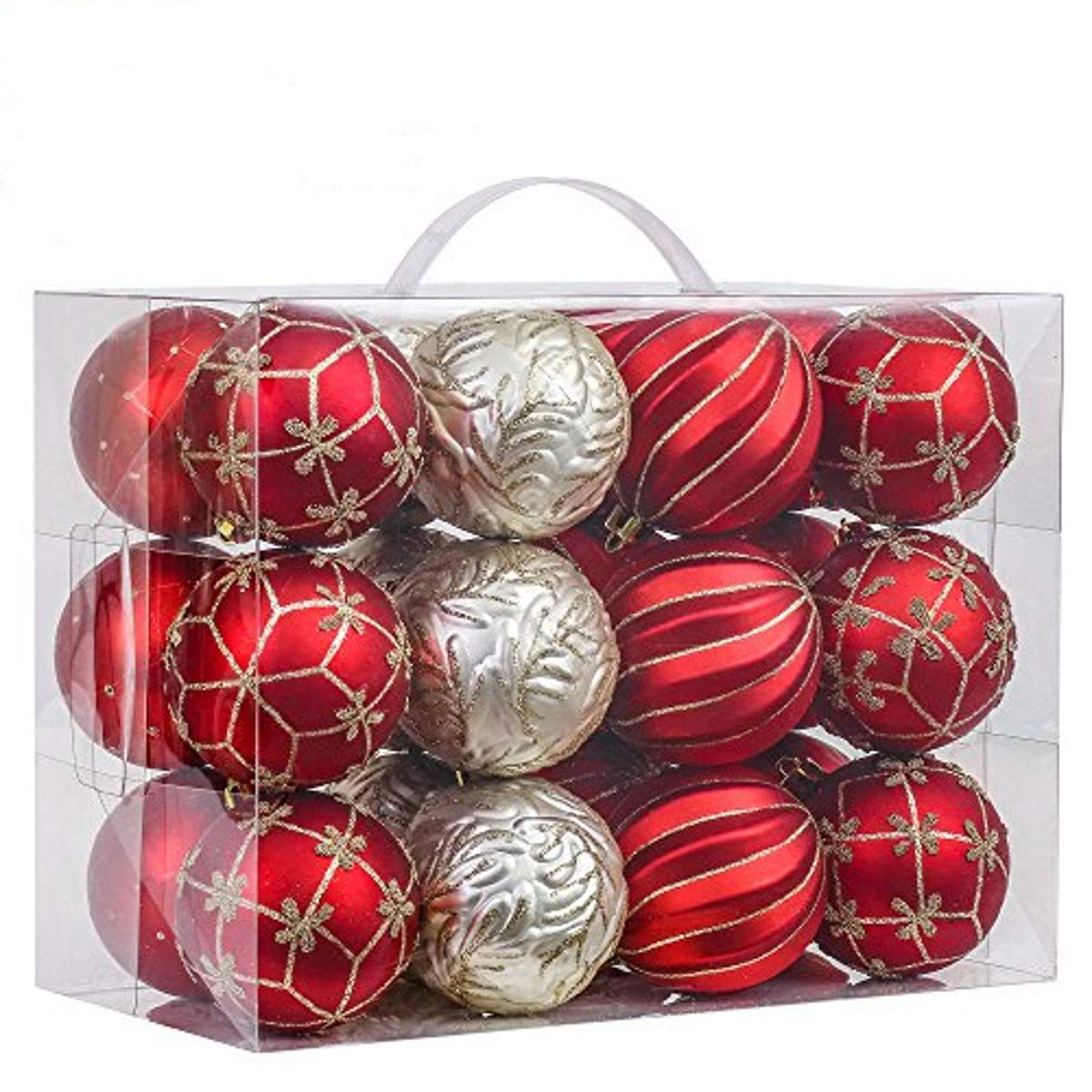 V&M VALERY MADELYN 24ct Shatterproof Christmas Balls Ornaments Luxury Red and Gold,2.76inch/7CM Christmas Hanging Ornaments,24 Hooks Included, Themed with Tree Skirt(Not Included) 16XM01BSLX002
