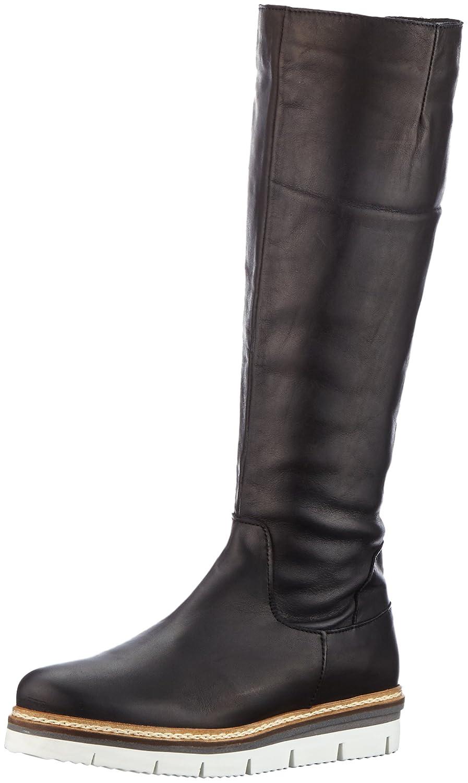 Bianco Longboots Mit Profil, Botas Plisadas para Mujer38 EU|Negro (Black 11)