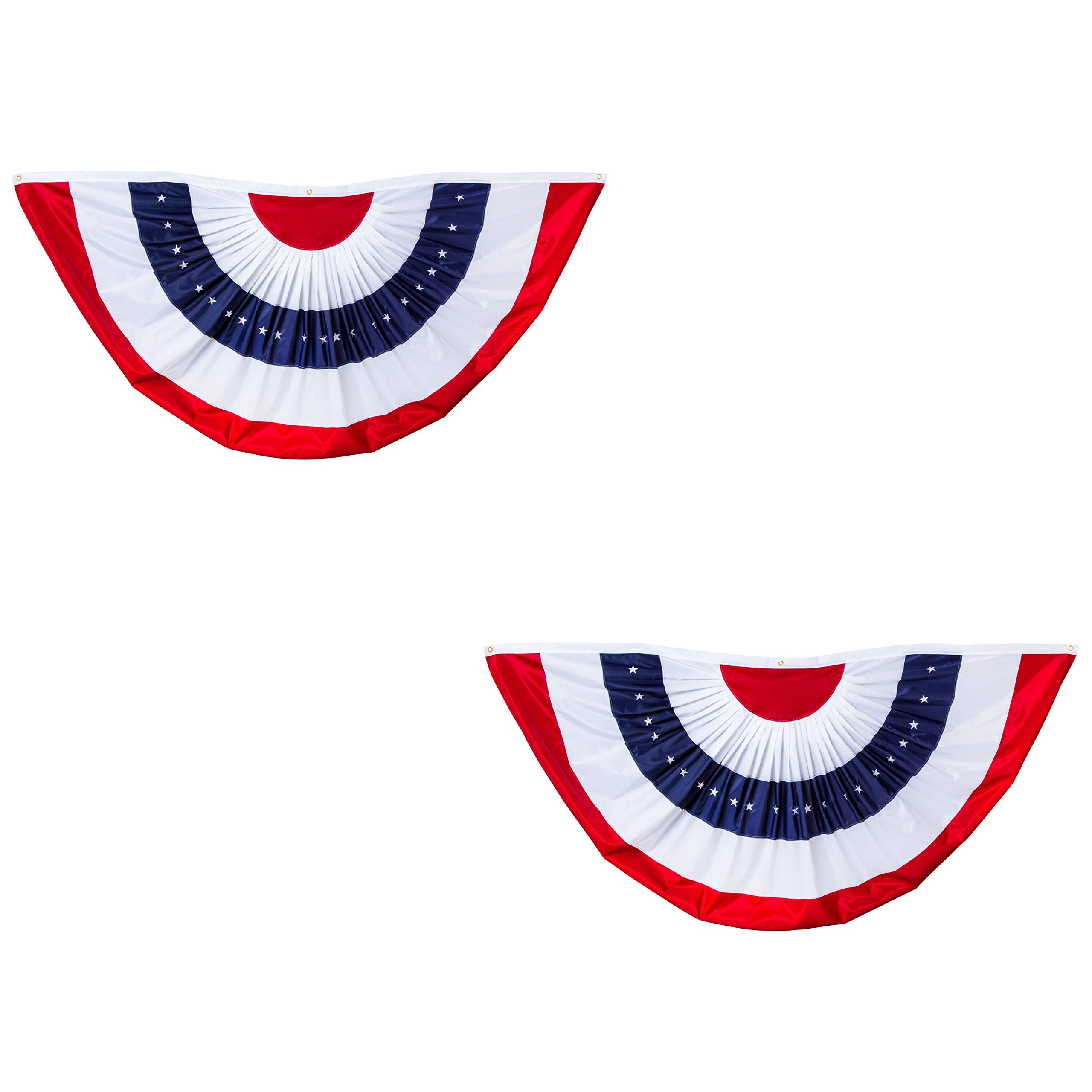 Evergreen Flag Patriotic Applique Bunting (8 x 4, Set of 2)