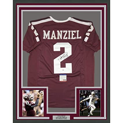 ea736a541c0 Framed Autographed Signed Johnny Manziel 33x42 Texas A M Maroon College  Football Jersey PSA DNA COA at Amazon s Sports Collectibles Store