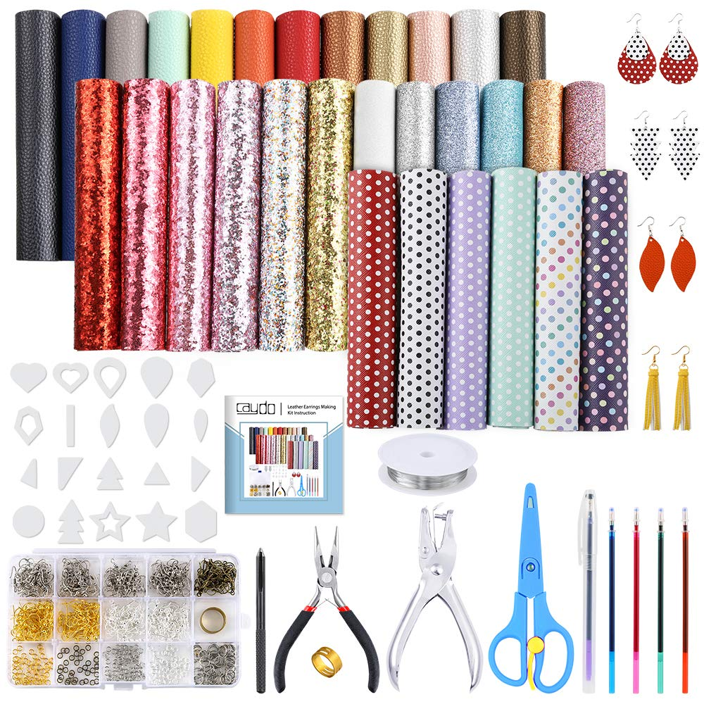 5 Style Faux Leather Sheet Caydo 30 Pieces Leather Earring Making Kit Include Instructions Templates and Complete Tools for Earrings Craft Making Supplies