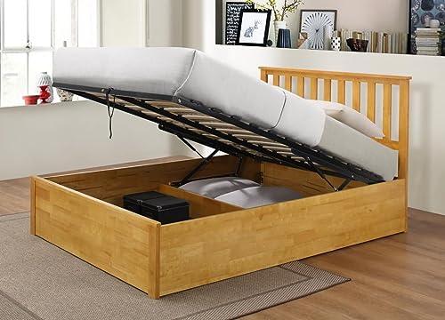 Como Wooden Ottoman Storage Bed Oak Or White 4ft6