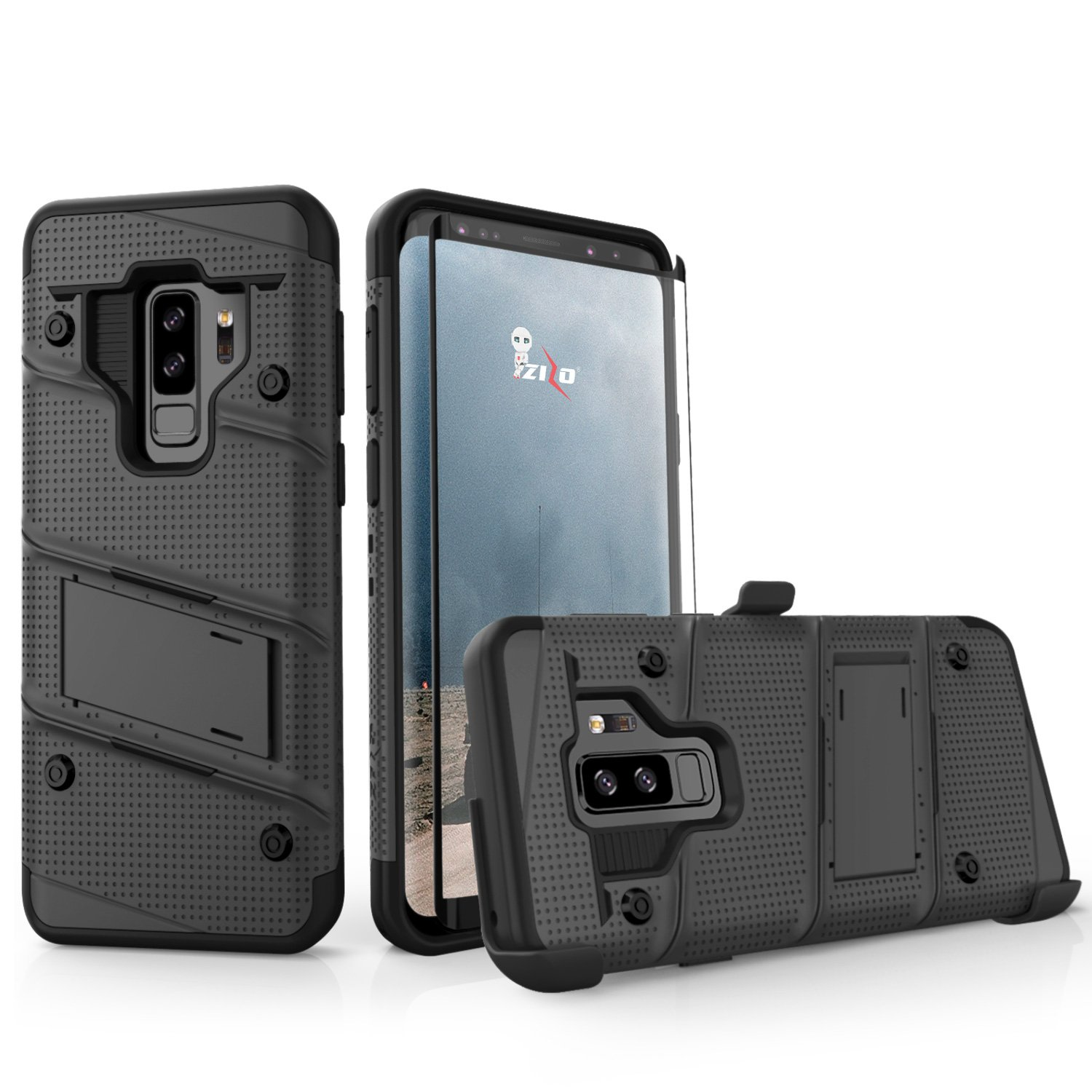 ZIZO Bolt Series Samsung Galaxy S9 Plus Case Military Grade Drop Tested with Tempered Glass Screen Protector Holster Black