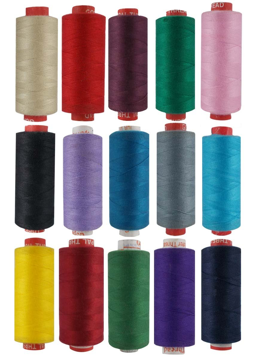 Lot of 15 Spools Assorted Color Polyester Thread Hand Machine Sewing Craft Serger Yarn-400 meter each by CraftyArt
