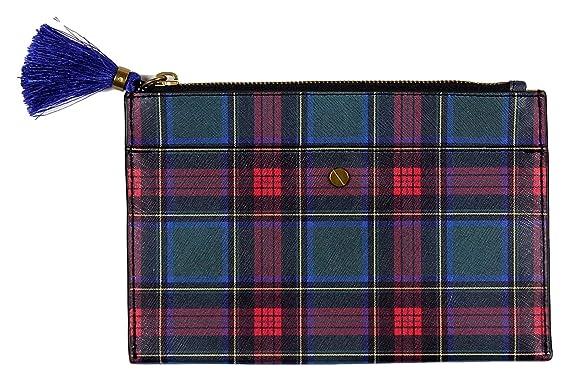 88cb3c2506 Amazon.com: J Crew Plaid Saffiano Leather Pouch Tassel, Zipper Style ...