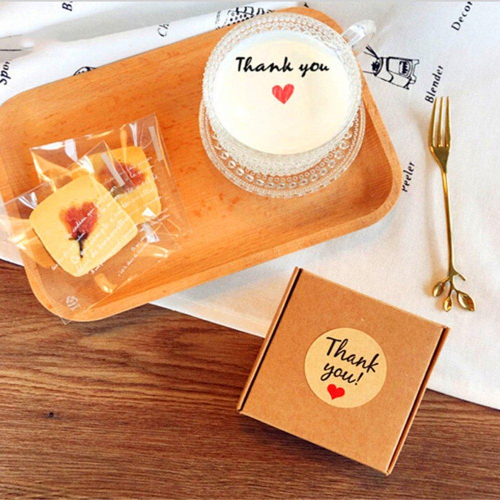 Vosarea Etichette Rotonde Adesive Thank You e Cuore di Carta Kraft 50 pcs