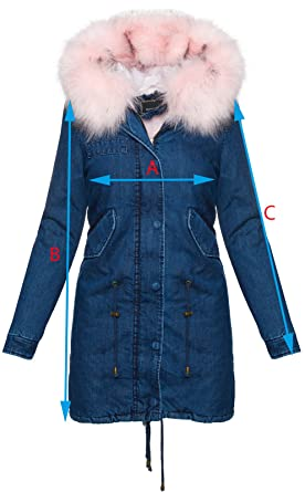 Rock Creek Selection Damen Winter Jacke Jeansjacke Damen Mantel XXL-Fell  Kapuze Damenjacke S- e5c99ce833