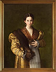Berkin Arts Parmigianino Classic Framed Giclee Print On Canvas-Famous Paintings Fine Art Poster-Reproduction Wall Decor(Portrait of A Young Woman Called 'Antea') #JK