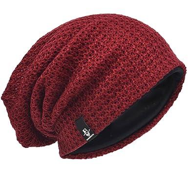 VECRY Bonnet Hiver Été Chapeau Tricoté Homme Rasta Slouchy Beanie Hats  (Bordeaux) accad098a1f