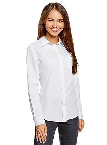 oodji Ultra Mujer Camisa Básica con Bolsillo en el Pecho