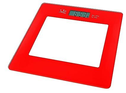 Jata Hogar 290 Báscula electrónica de Cristal con Visor LCD, Rojo