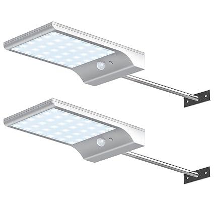 InnoGear - Luces solares de pared con barra de montaje y sensor de movimiento para exteriores