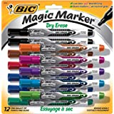 BIC Low Odor & Bold Writing Pen Style Dry Erase Marker, Bullet Tip, Assorted, 12 (GELIPP121AST)
