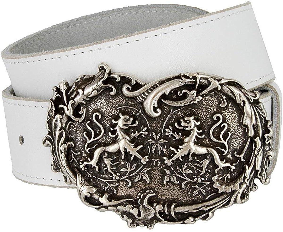 Hagora Men 1.5 Wide White Genuine Leather Dragons Heart Silver Buckle Belt