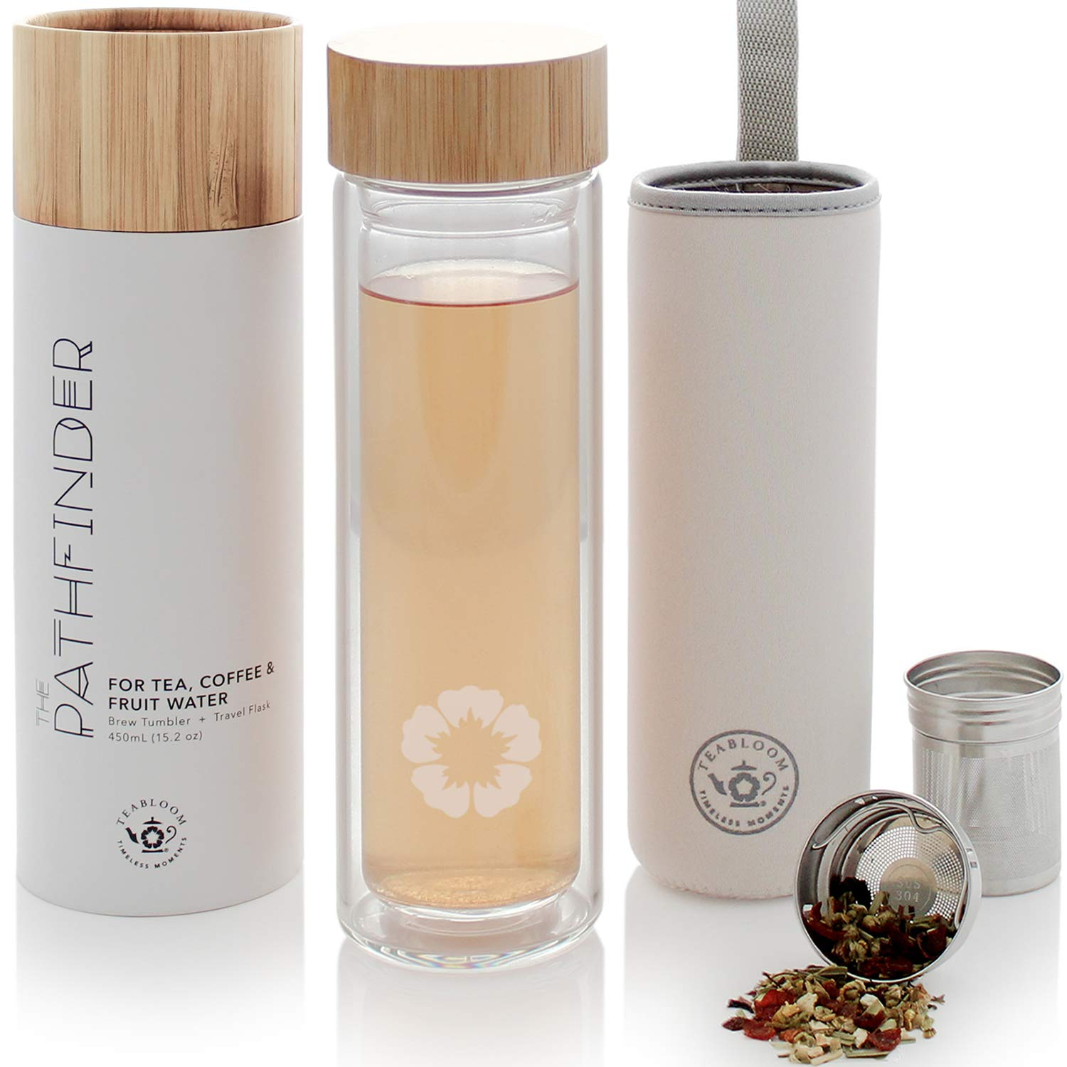 Teabloom All-Beverage Tumbler – 15 oz / 450 ml – Natural Bamboo and Tempered Glass Travel Bottle – Hot and Cold Tea Infuser – Cold-Brew Coffee – Fruit-Infused Water – Tea Tumbler – The Pathfinder