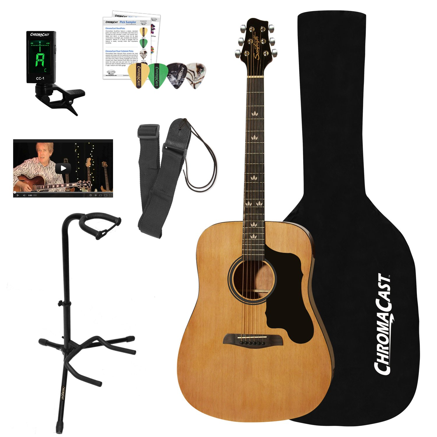 Sawtooth Acoustic Dreadnought Guitar with Case, Tuner, Stand, Strap, Picks & Online Lesson by Sawtooth