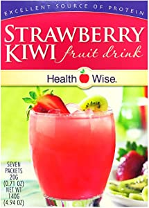 Healthwise - Strawberry Kiwi Diet Fruit Drink | Healthy Protein Drink, Appetite Suppressant | High Protein, Fat Free, Low Carb, Low Calorie, Sugar Free (7/Box)
