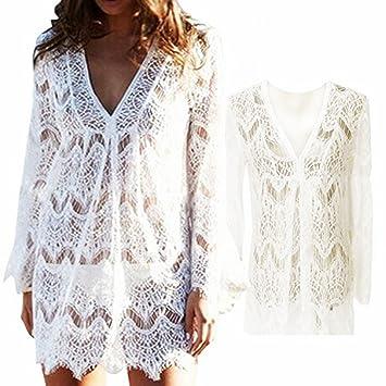 Vandot Boho Bikini Cover Up Women Crochet Lace Hollow Beach Tunic