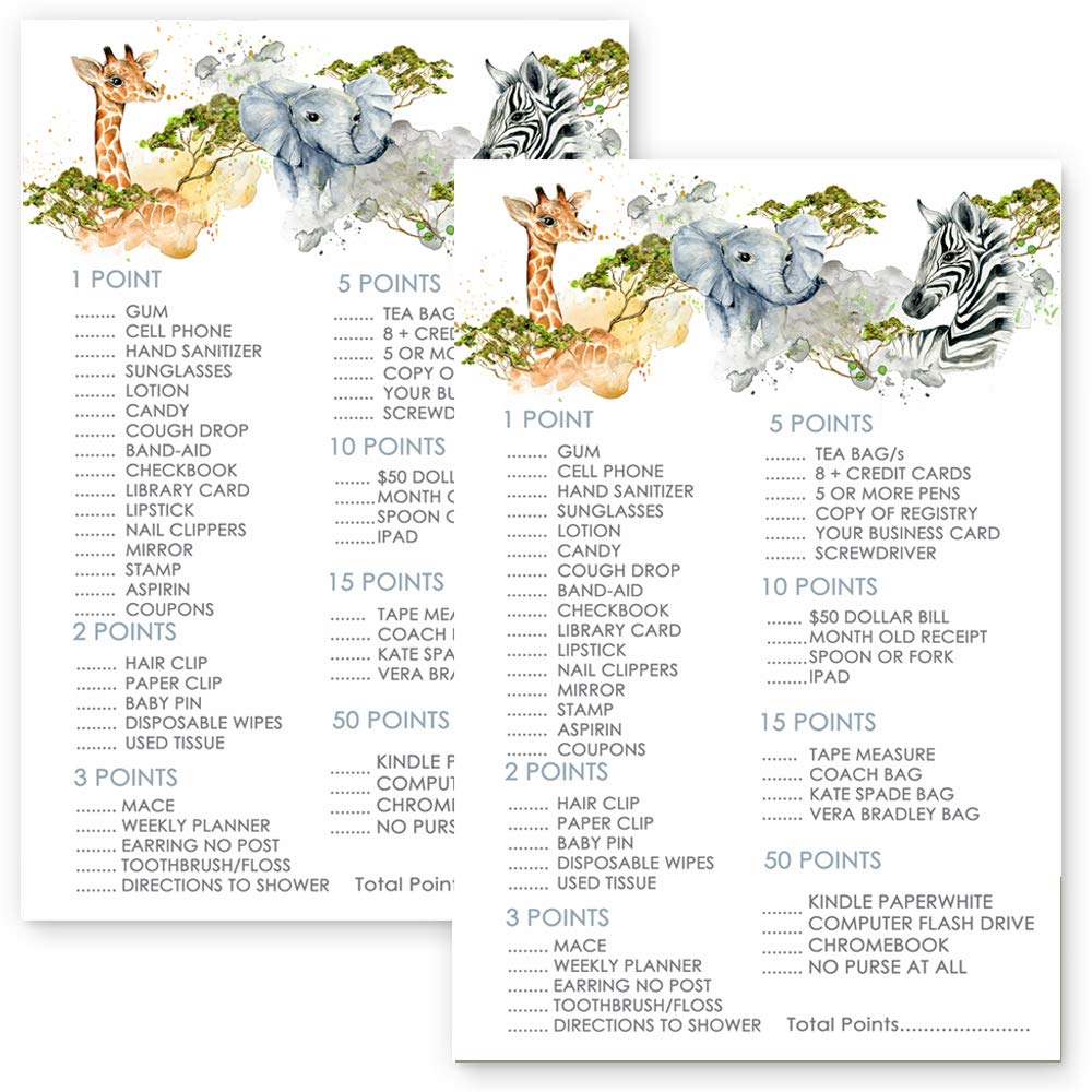 Jungle Whats In Your Purse Set of 25 Baby Shower Game Party Activity by Paper Clever Party (Image #5)