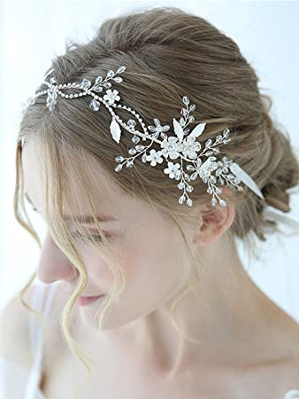 Stunning Crystal Wedding Headpieces Leaves Beaded Hair Vine Diamante Bridal Halo