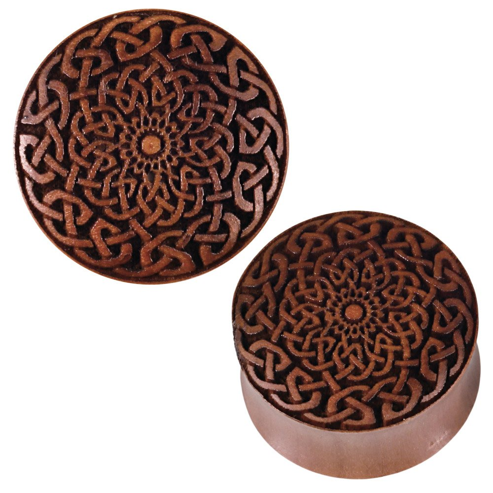 Chic Net Plug Sawo wood brown Braided laser engraving Tribal Expander Chic-Net HPT-308-04