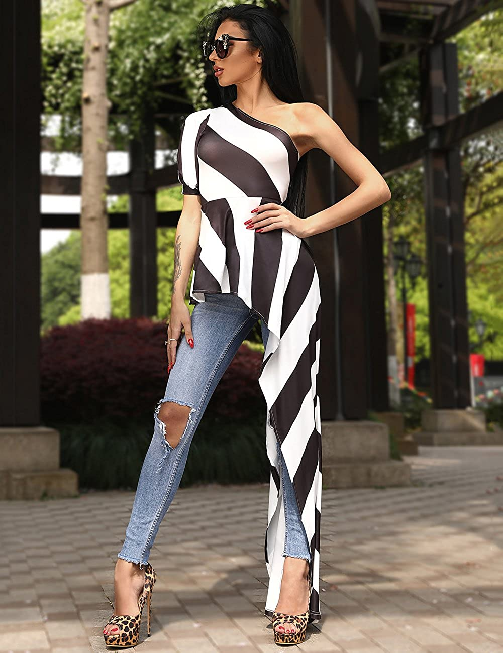83b12d7d7113 Ivrose Women One Shoulder Contrast Striped Asymmetric Blouse at Amazon  Women s Clothing store
