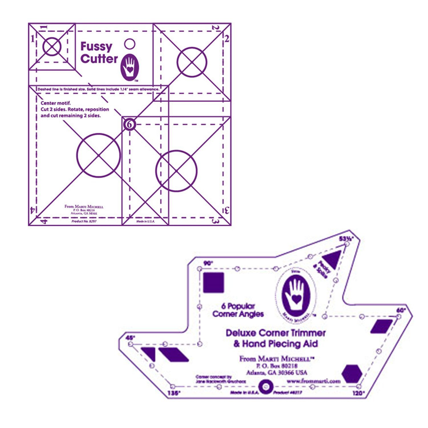 Marti Michell Quilting Templates – 2 Items: Deluxe Corner Trimmer and Multi-Size Fussy Cutter