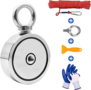 Fishing Magnet with 66ft Rope /& Glove Wukong 760LB Pulling Force Super Strong