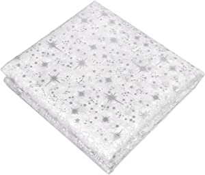 Rectangular Tablecloth 60 Inch by 120 Inch. Christmas Theme Semi-Transparent White Background with Silver Stars and Snowflakes. Made with 100% Polyester Machine Washable. Perfect for Holiday Banquets.
