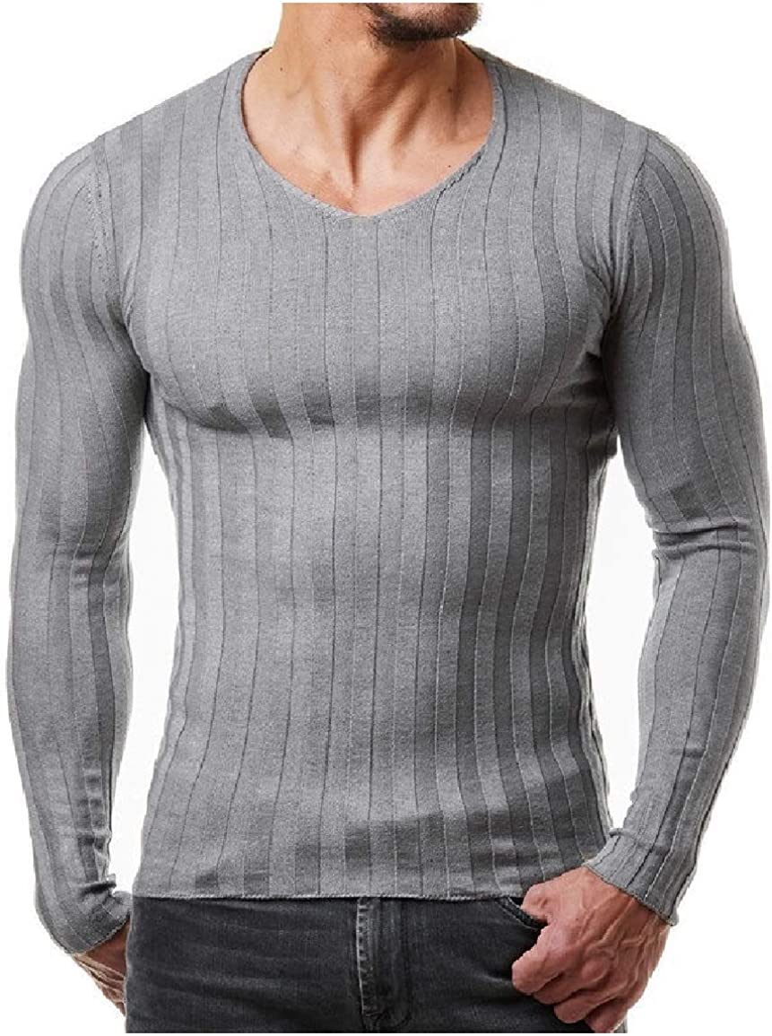 Sayah Mens Knit Solid Colored O-Neck Pullover Long-Sleeve Fitness Tees Top
