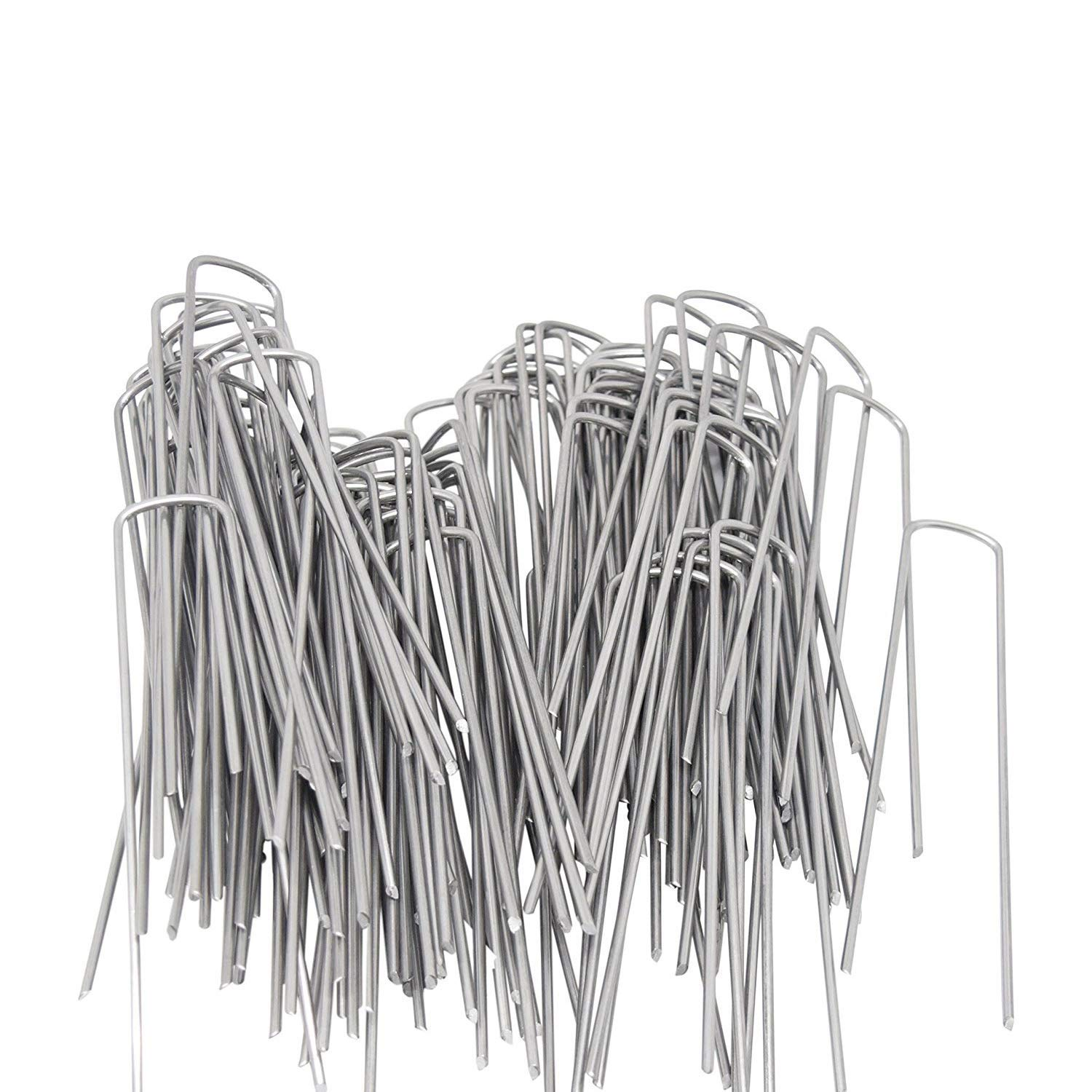 40Pcs 9inch Extra-Long U-Shaped Garden Securing Pegs,Anti-Rust Garden Stake with 30 Cable Ties for Dog Fences, Irrigation Hoses, Ground Sheets and Fleece,etc