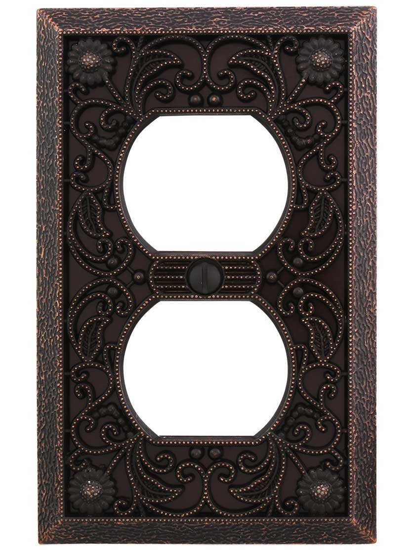 Filigree Single-Duplex Cover Plate in Aged Bronze by AmerTac