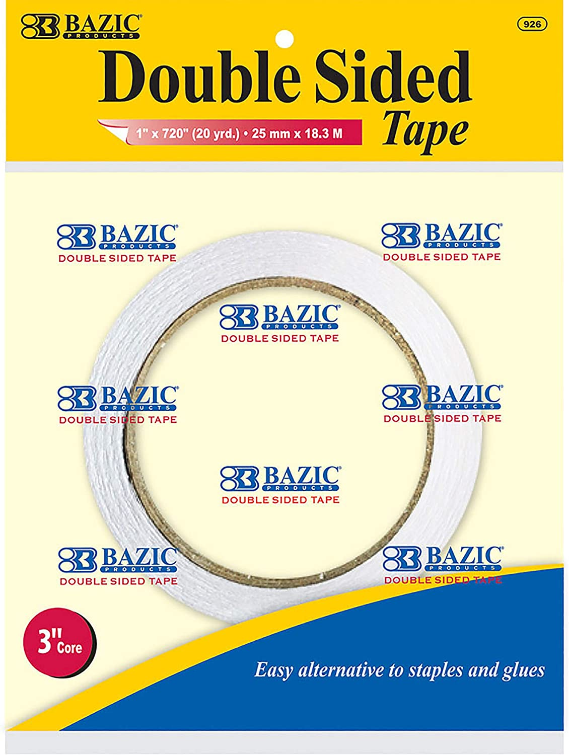 "BAZIC 1"" X 20 Yard (720"") Double Sided Tape, Clear Sticky Adhesive Tapes, for Home Office Decor Gift Wrap, 2-Pack"