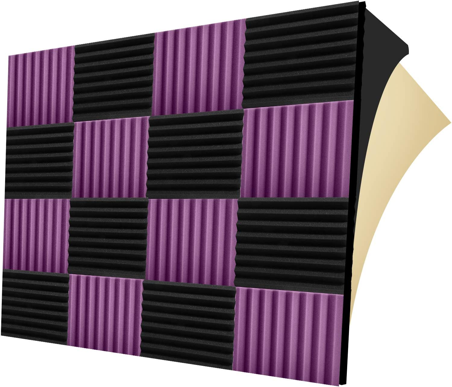 """12 Pack Self-adhesive Sound Proof Foam Panels, 1.5"""" X 12"""" X 12"""", Acoustic Foam Panels with High Density, Soundproof Foam Panels for Decreasing Noise and Echoes, Studio Foam for Indoor (Black+Purple)"""
