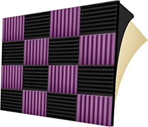"12 Pack Self-adhesive Sound Proof Foam Panels, 1.5"" X 12"" X 12"", Acoustic Foam Panels with High Density, Soundproof Foam Panels for Decreasing Noise and Echoes, Studio Foam for Indoor (Black+Purple)"