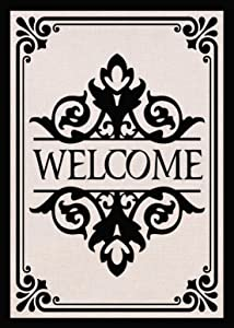 Covido Home Decorative Monogram Welcome Garden Flag, Fall Winter House Yard Lawn Initial Decor Sign Black, Vintage Christmas Holiday Outside Decorations Outdoor Small Burlap Flag Double Sided 12 x 18