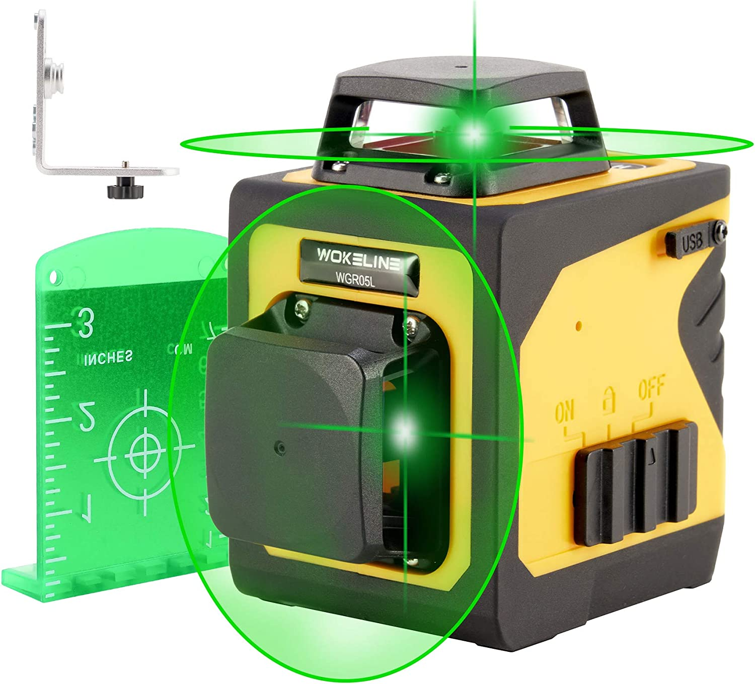 Green Laser Level for Indoor Outdoor Work, 360 Leveler with 4 Horizontal 4 Vertical Lines, Professional Self Leveling Laser Tool for Home Construction with USB Recharging, Laser Level: CLASS II