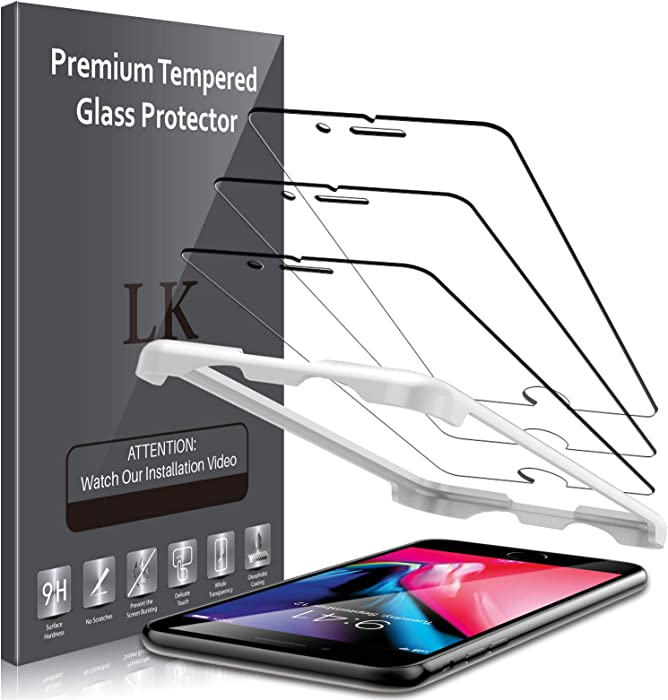 LK 3 Pack Screen Protector Compatible for iPhone 6, iPhone 6s, iPhone 7, iPhone 8 Tempered Glass Case Friendly, HD Clear