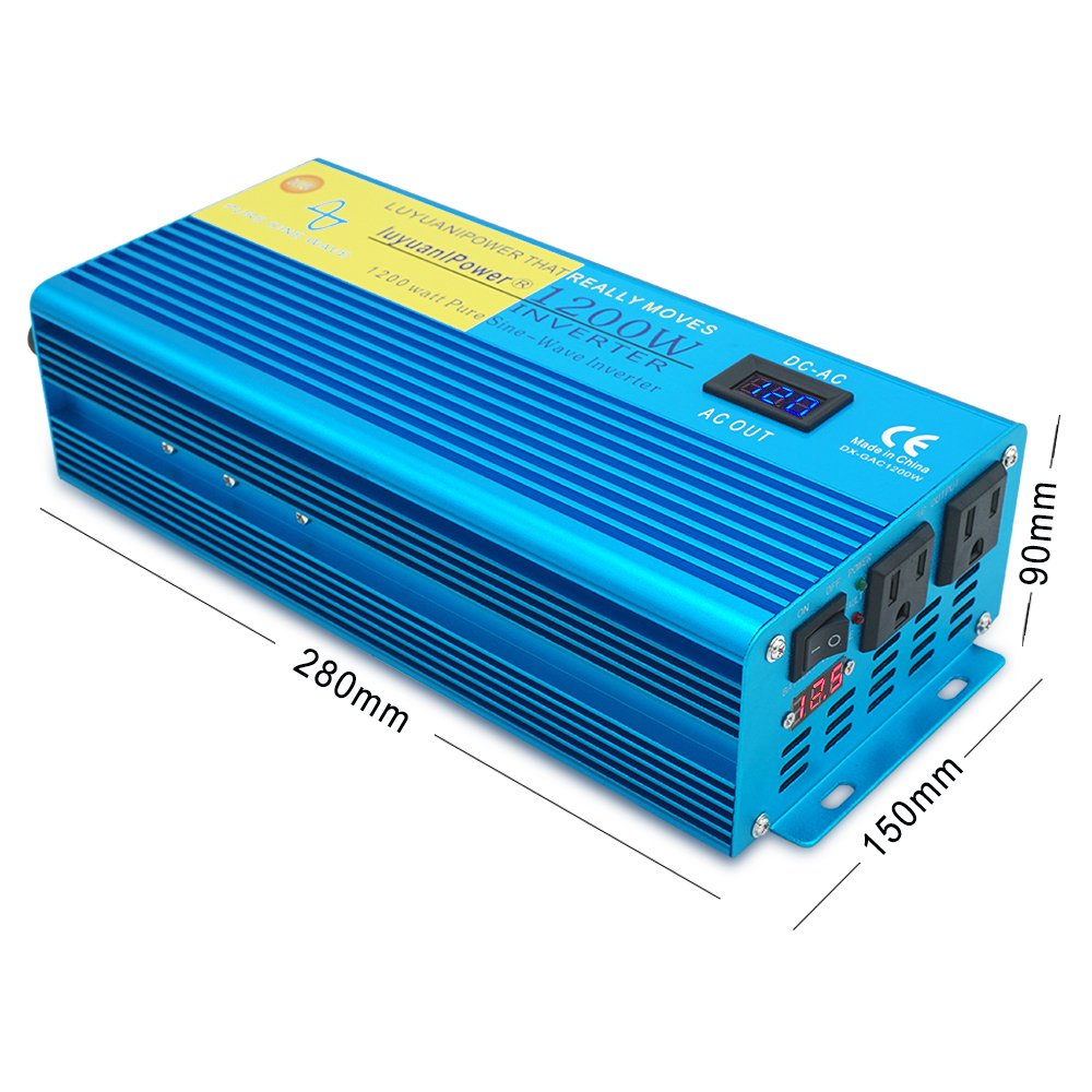 Ipowerbingo Car Boat 1200w 2400wpeak Pure Sine Wave True Inverter Idea Power 12v Dc To 110 V Ac With 2 Outlets Battery Cables Lcd Display