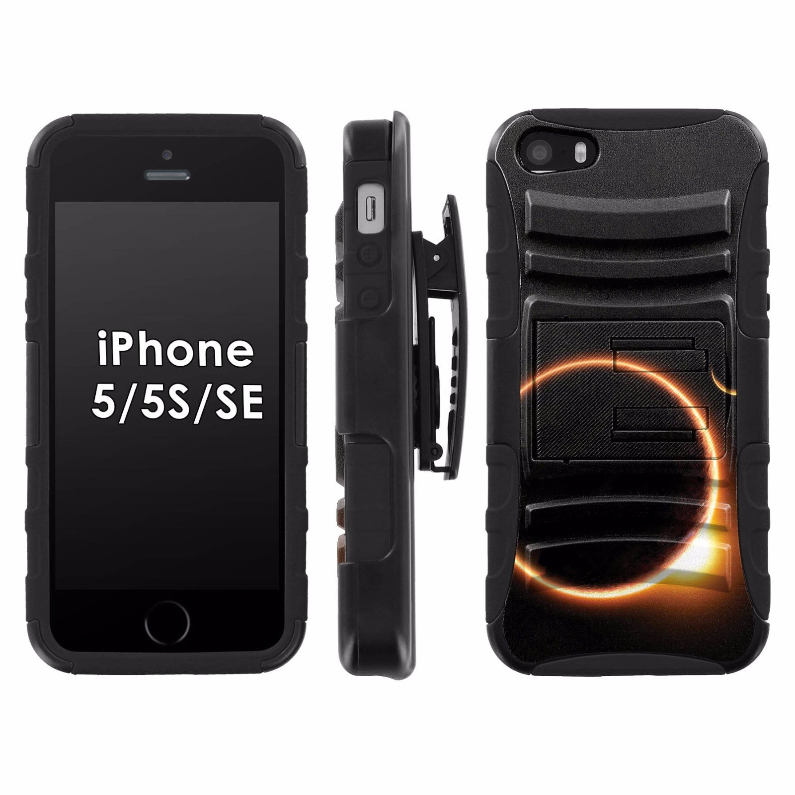 iPhone SE / 5 / 5S Phone Cover, Solar Eclipse- Black Blitz Hybrid Armor Phone Case for [iPhone SE / 5 / 5S] with [Kickstand and Holster]