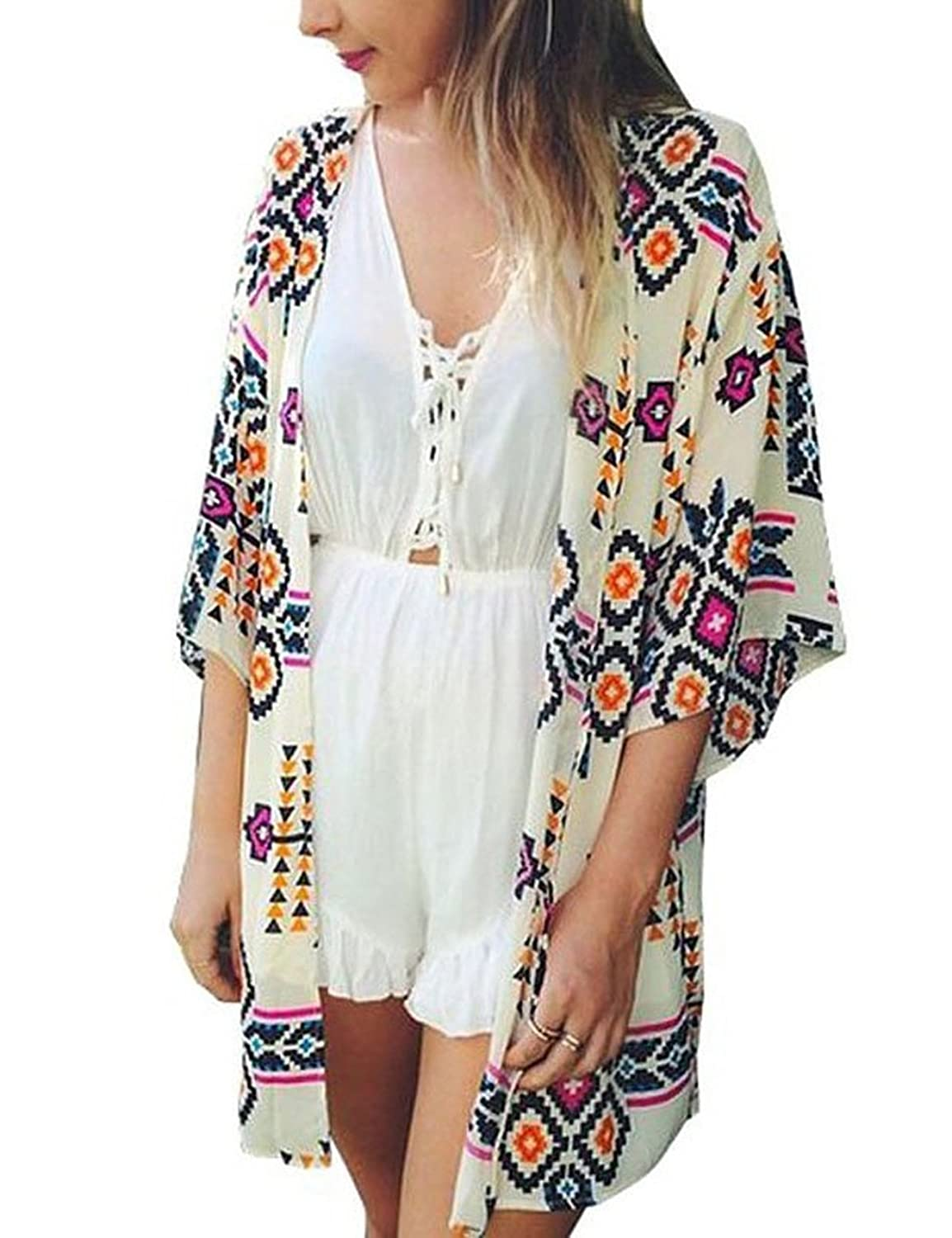 Mode Damen drucken Kimono Cardigan Bluse Tops Strandkleid Bikini Cover Up