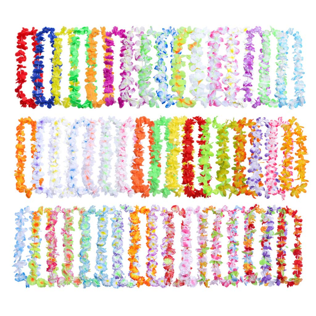 ❤️Byedog❤50PCx Fancy Hawaiian Flower Leis Garland Necklace Dress/Party/Hawaii/Beach/Fun by Byedog_❤️Furnitures