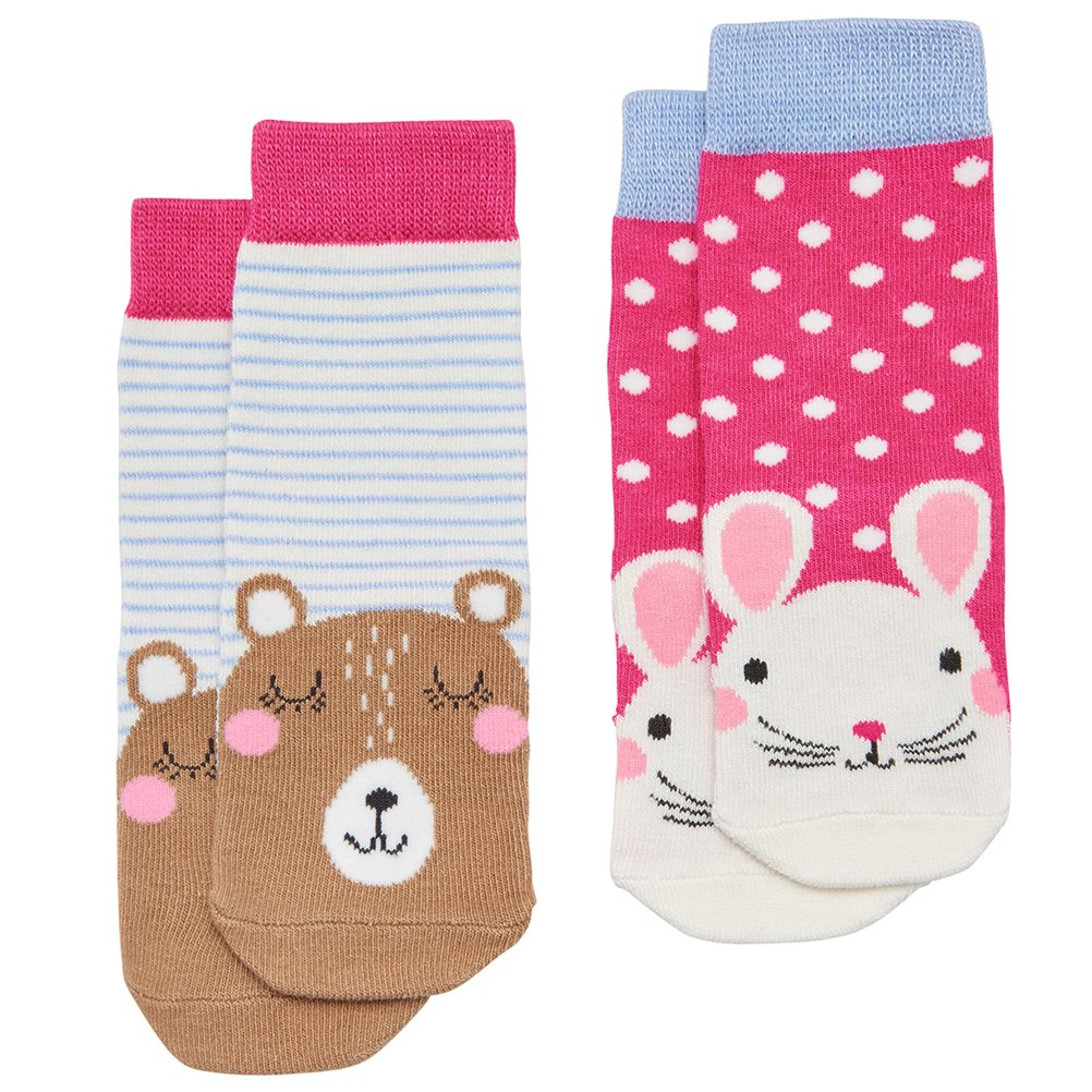 Joules Baby Girls Two Pack Character Socks - Mouse