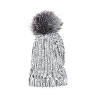 ce8bd3d2912 DFUCF Ladies Winter Knit Hat Warm Padded Pom-Pom Fashion Skiing Outdoor  Sport Gray Leisure