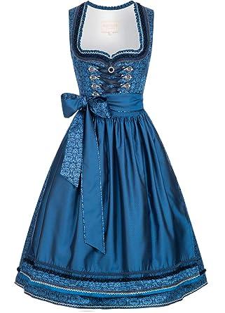 03a9ee66ebe104 Krüger-Collection Damen Trachten-Mode Midi Dirndl Christl in Blau  traditionell, Größe: