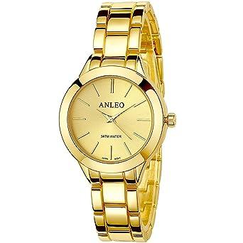 ANLEOWATCH 1PCS Women Pure Color Dress Watches Stainless Steel Back Metal Strap Sport Wristwatch 6085-