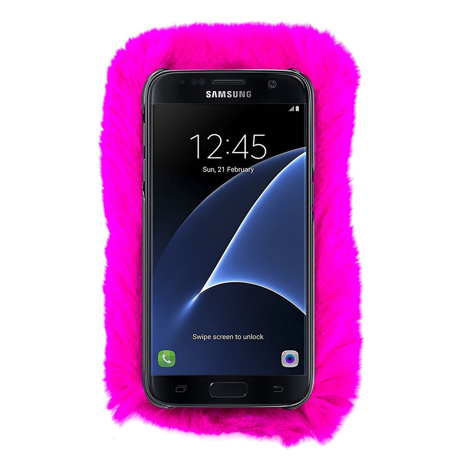 buy popular 7044d 1b04a for Samsung Galaxy S6 Edge Plus Fur Furry Fluffy Case Soft Hot Pink Cover  with Free Pouch