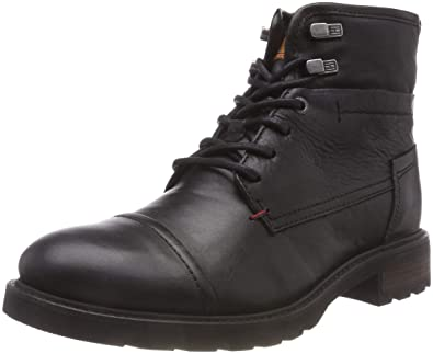 Tommy Hilfiger Herren Winter Leather Textile Mix Combat Boots, Schwarz  (Black 990), 453286fc2a